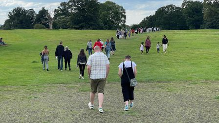 Fans on their way to see Tom Jones perform at Earlham Park in Norwich.