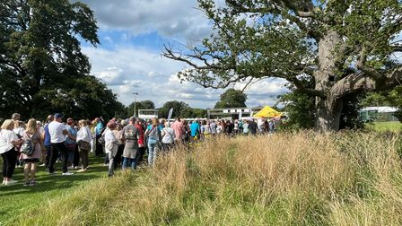 Fans on their way to the Tom Jones concert at Earlham Park in Norwich.