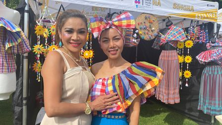 Singer Pin Loonsai and trader Alice Lord at the Magic of Thai Festival