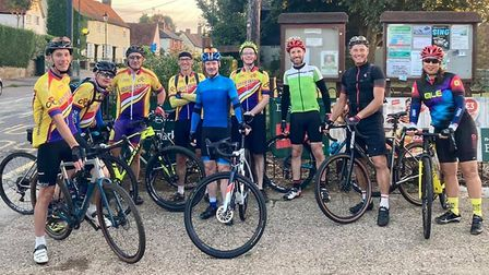 Stevenage Cycling Club set off at 6am from Walkern ontheir epic trip to King's Lynn