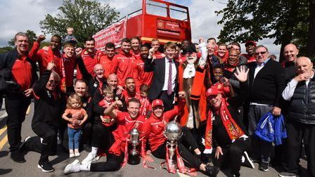 Players and staff from Hornchurch FC are met by Havering Council Leader Cllr Damian White and Mayor