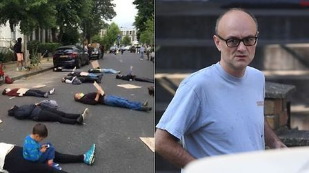 Protestors gathering outside Dominic Cummings' north London home and Dominic Cummings (R); PA images