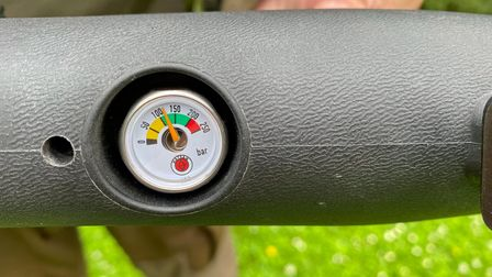 Close up of the fill gauge on the Hatsan Predator air rifle