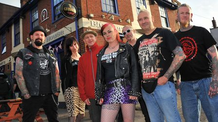 """Emma Keevil(centre) and members of various punk bands who are taking part in The Blueberry Pub """"Pogo"""