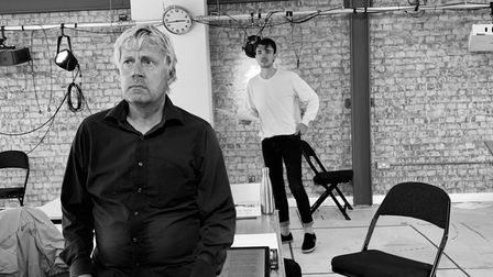Will Barton and Alex Phelps in rehearsals for When Darkness Falls