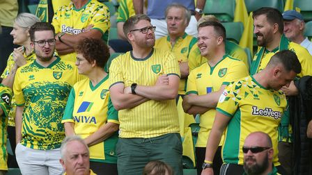 The Norwich fans before the Premier League match at Carrow Road, NorwichPicture by Paul Chesterton/