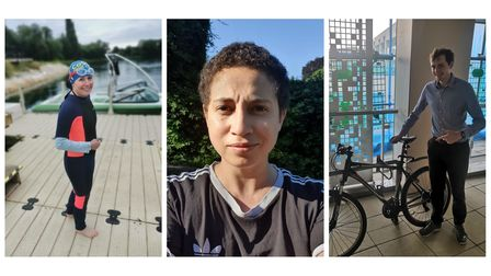 Nathalie Raffray, Holly Chant and William Mata are taking part in the Blenheim Palace Triathlon for Elders Voice