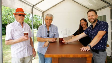 Windependence Day - Barry and Carlos enjoy a drink from the staff of The Pheasant Pub, Great Chishill