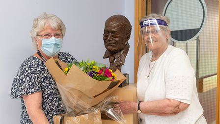 Sandra Wraight, office and systems manager for hip research, with patientMaureen Brown