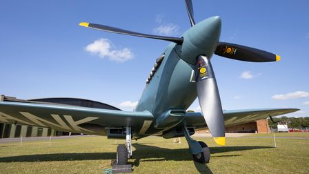 The NHS Spitfire on static display at IWM Duxford.