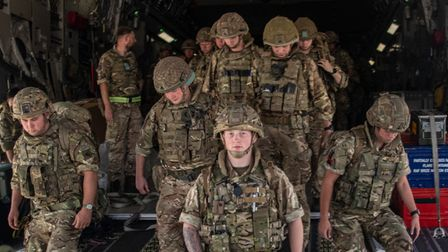 Handout photo issued by the Ministry of Defence (MoD) of 16 Air Assault Brigade arriving in Kabul as