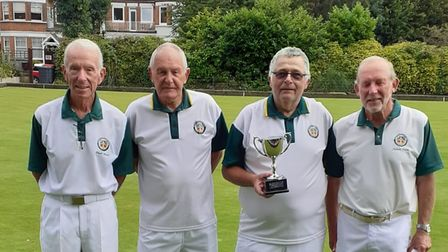 Potters Bar Bowls Club's successful squad with the Finchley & District Area Cup