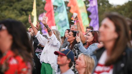 Bananarama fans cheering the duo on stage at Heritage Live at Audley End. Photo: © Celia Bartlett