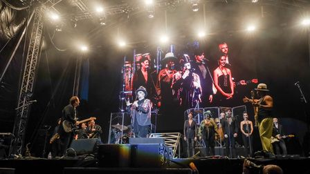 Boy George introduces the members of Culture Club at Heritage Live, Audley End. Photo: © Celia Bartle