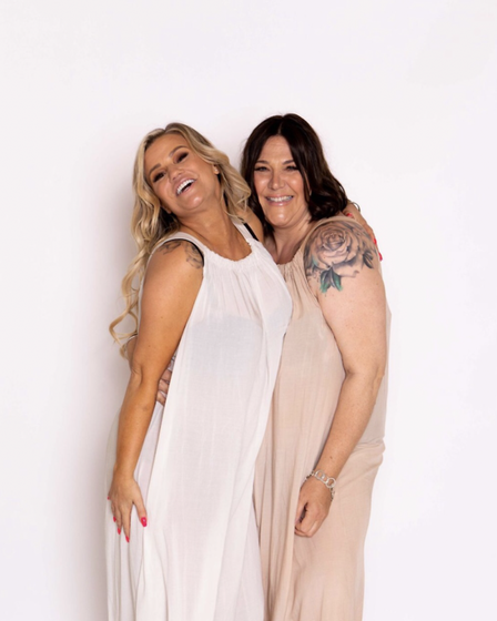 Angela Taylor pictured with Kerry Katona for her clothing brand