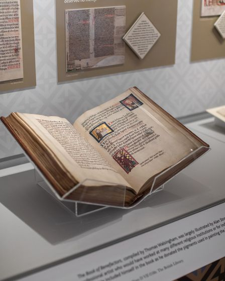 Medieval manuscript at Chroniclers of History exhibition, St Albans Museum and Gallery, Hertfordshire