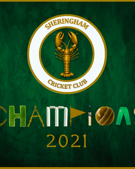 A Sheringham Cricket Club 2021 champions banner designed by Ben Little