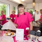 Women smiling: free tea and coffee, cake to purchase at TouchPoint Stansted, Essex