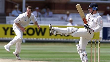 Chris Read in batting action for England against New Zealand at Lord's in 1999
