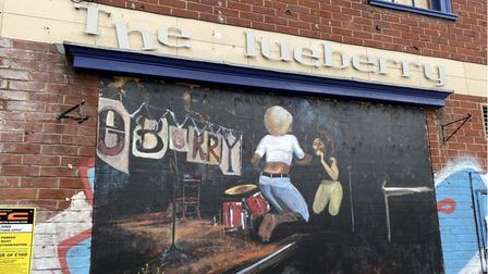 A mural was painted outside of The Blueberry Music House on Cowgate in Norwich, which has fallen into disrepair.