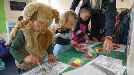 Kids at Poppies Day Nursery painting some air ambulances. Picture: Danielle Booden
