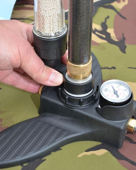 The Dry Pac additional being pushed into position on the Hill Mk5 Airgun Pump