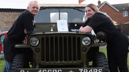 Organisers, Jamie Bell and Katrina Kerslake, with the military jeep which won best in show at Caleb'
