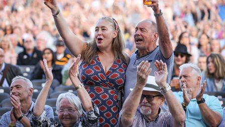 Fans of the Waterboys enjoying the performance at Heritage Live, Audley End House.