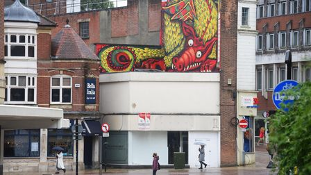 The red dragon street art looking down on Red Lion Street in Norwich. Picture: DENISE BRADLEY