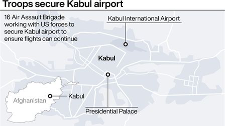 Graphic locates Kabul airport where 16 Air Assault Brigade are working with US forces to evacuate ci