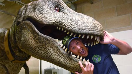 Adam Hodgson, a partner in Dino Hire at Lowestoft, with his T Rex called Donald which has been enter