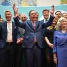 Brexit Party leader Nigel Farage speaks in front of newly elected Brexit Party MEPs, including Annun