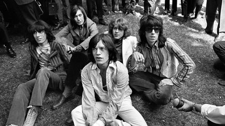 New member Mick Taylor (second from right) joins the Rolling Stones to replace lead guitarist Brian