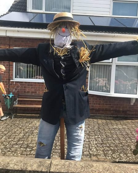 The Barnard family's scarecrow for the trail