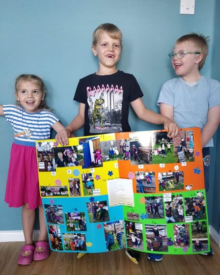 Children created a poster to inform people about the scarecrow trail in Sprowston