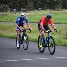 Kingskerswell's Andy Perkins (Mid-Devon CC) winning the 3/4th Category race at the Torbay Velopark - Credit: Archant