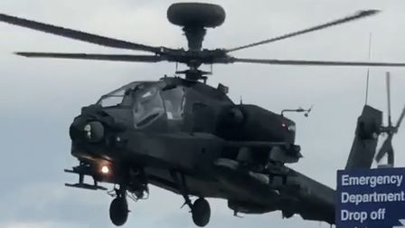 Andy Broweswas waiting outside the Norfolk and Norwich University Hospital when theApache helicopter