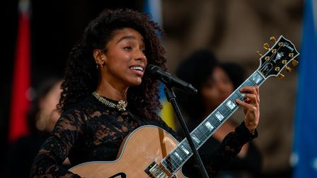 Singer songwriter Lianne La Havas performs during a pre-recording of the BBC's A Celebration for Com