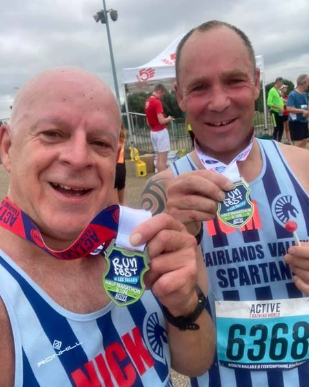Nick Kleanthous and Thomas Sauka of Fairlands Valley Spartans after the Lee Valley 10K
