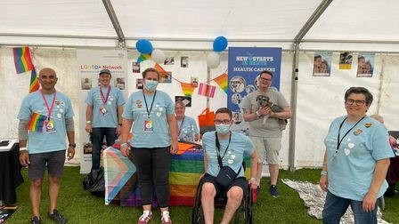 Colleagues fromEastand North Hertfordshire NHS Trust hosted a stall at Herts Pride 2021