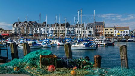 View of boats in the harbour in Ilfracombe, North Devon.