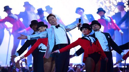 Hugh Jackman on stage at the Brit Awards 2019 at the O2 Arena, London. PRESS ASSOCIATION PHOTO. Pict