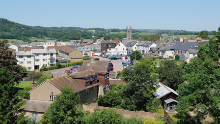 An aerial view down the street in Honiton, East Devon.