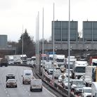 A view of traffic using the M25 near Dartford in Kent at 11:08am. Prime Minister Boris Johnson order