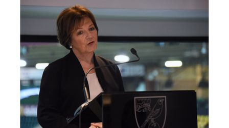 Delia Smith speaks at the Top of the Terrace at the Norwich City Football Club stadium to invite din