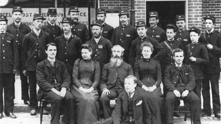 The staff of Hitchin Post Office, when it was in Market Place,in 1891