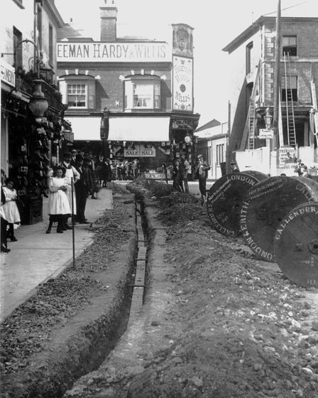Electricity being installed in Hitchin in 1906