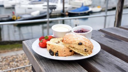Visitors can enjoy a quick bite to eat while overlooking the boats at the dock