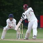 J Hebron in batting action for Brentwood during Wanstead and Snaresbrook CC (fielding) vs Brentwood