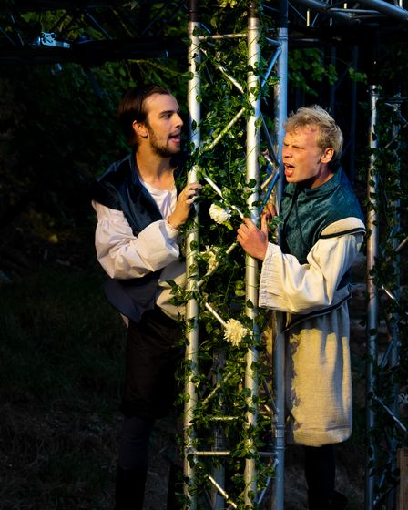 Rehearsals for Shakespeare in Love, which can be seenatThe Living Theatre atSt Paul's Walden Bury, Whitwell.